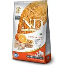 N&D Low Grain Dog Adult M/L Codfish & Orange 12 kg - vhodné pro větší italské chrtíky, whippety a větší plemena