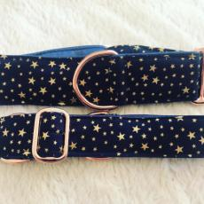 Bavlněný obojek Gold stars 3 cm S