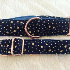 Bavlněný obojek Gold stars 5 cm XL