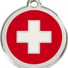 Známka malá 20 mm - Švýcarský kříž - s rytím