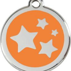 Známka malá 20 mm - Hvězdičky - Oranžová - s rytím