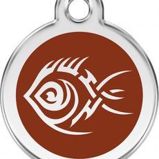Známka malá 20 mm - Ryba Tribal - Hnědá - s rytím