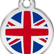 Známka malá 20 mm - UK vlajka - Modrá - s rytím