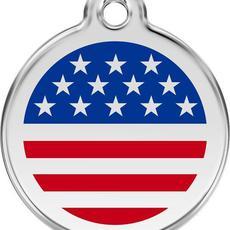 Známka malá 20 mm - US vlajka - Modrá - s rytím