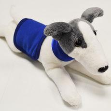 Plyšový whippet/greyhound s dečkou a obojkem - modrý
