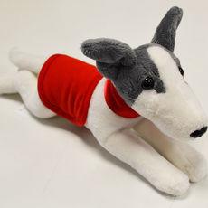 Plyšový whippet/greyhound s dečkou a obojkem - červený