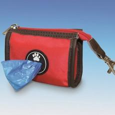 Pouzdro nylon na sáčky - kapsička červená 9 x 7 x 4 cm  + 1 ks sáčků