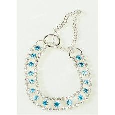 Štrasový polostahovací obojek BLUE DIAMOND stříbrno modrý 17-24 cm